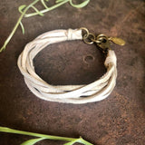 Multi Strand Leather Bracelet - Cream