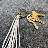 Leather Tassel Key Ring - White