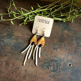 Leather & Feather Mini Earrings - Cream/Pheasant