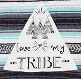 "Family Mexican Blanket ""Love My Tribe"" - Mint Throw"