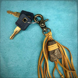 Feather & Leather Bag Clip - Gold