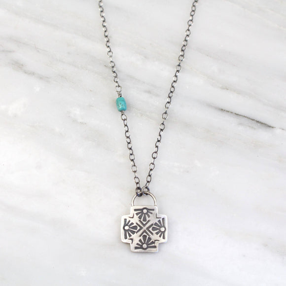 Sun Cross Chain Turquoise Necklace