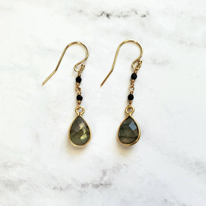 Labradorite Drop and Spinel Hook Earrings