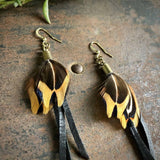 Leather & Feather Mini Earrings - Black/Pheasant