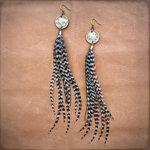 Buffalo Nickel & Feather Earrings