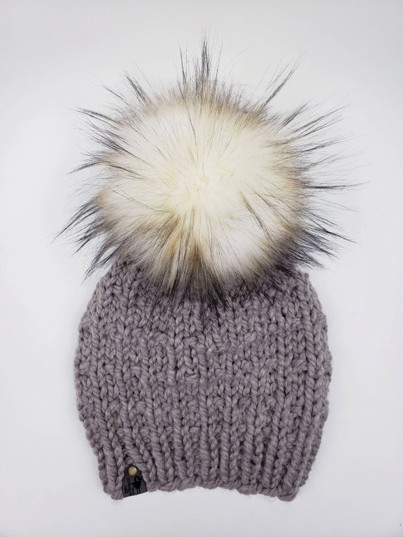 Sophie Beanie - Driftwood (Snap On Pom)
