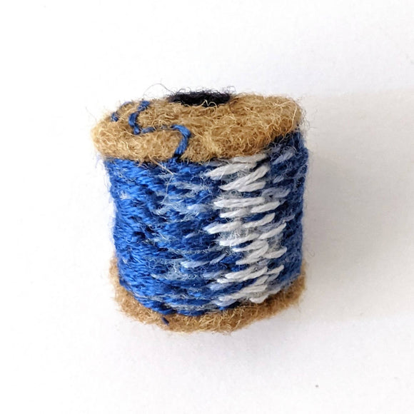 Spool of Blue Thread Brooch - Needle Felted Wool, Embroidered