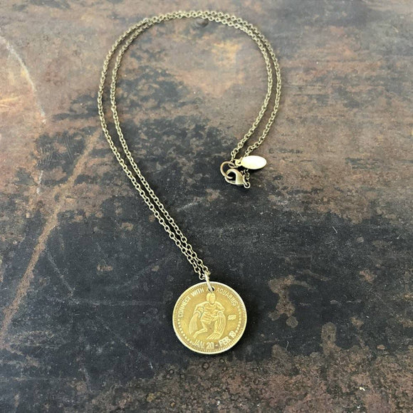 Aquarius Sign Necklace - Zodiac Peep Show Token