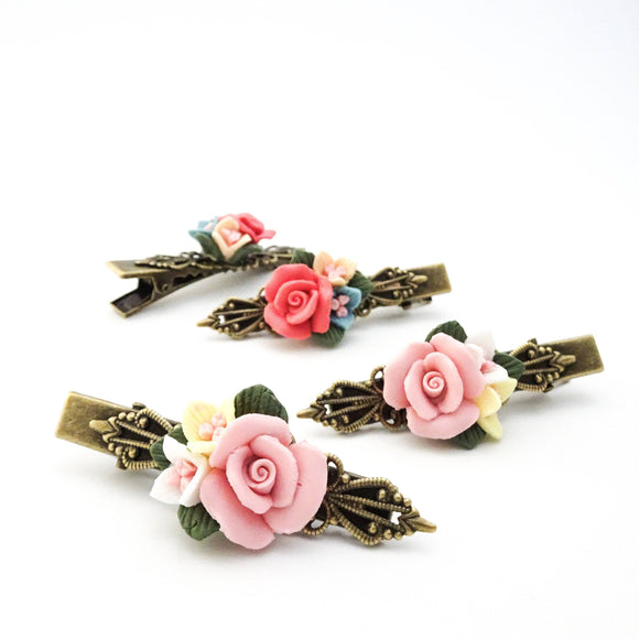 Porcelain Flower Barrettes | Flower Hair Clips