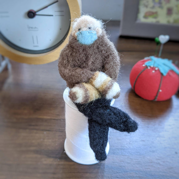 Bernie and the Mittens - Needle Felted Wool, Embroidered