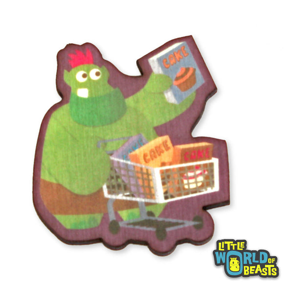 Cake Troll Goes to Market - Mundane Monster Wooden Pin