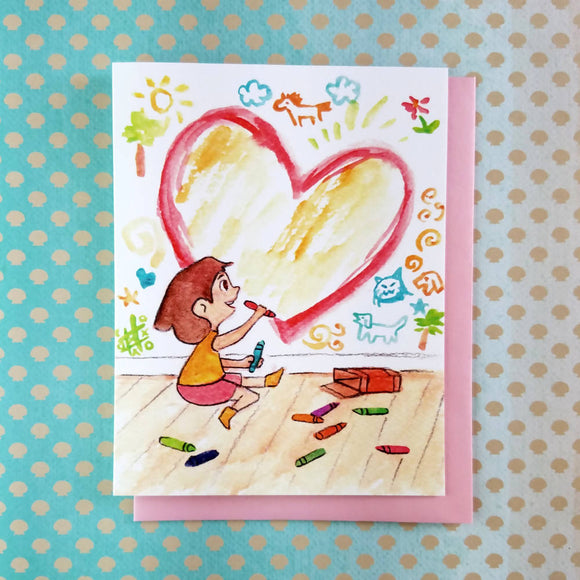 Wall Draw Girl Greeting Card