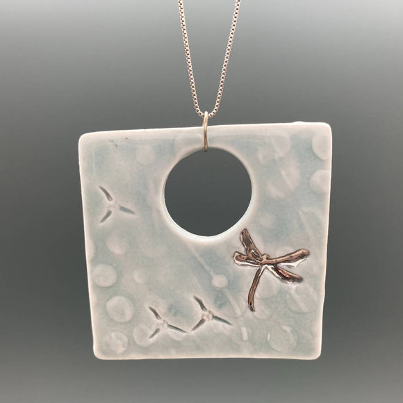 Blue Celadon Square Textured Pendant with Silver Luster Dragonfly