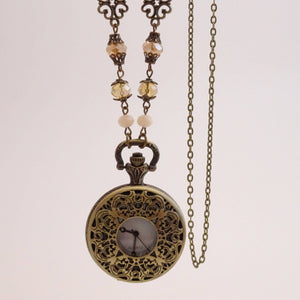 Pocket Watch Necklace with Filigree | Working Pocketwatch with Crystal beads