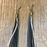 Leather & Feather Long Earrings - Charcoal