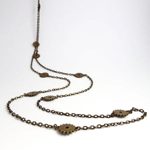 Steampunk Gear Long Wrap Necklace | Bronze Gears and Chain