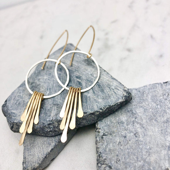 Sterling Silver and Gold Hoop Fringe Earrings