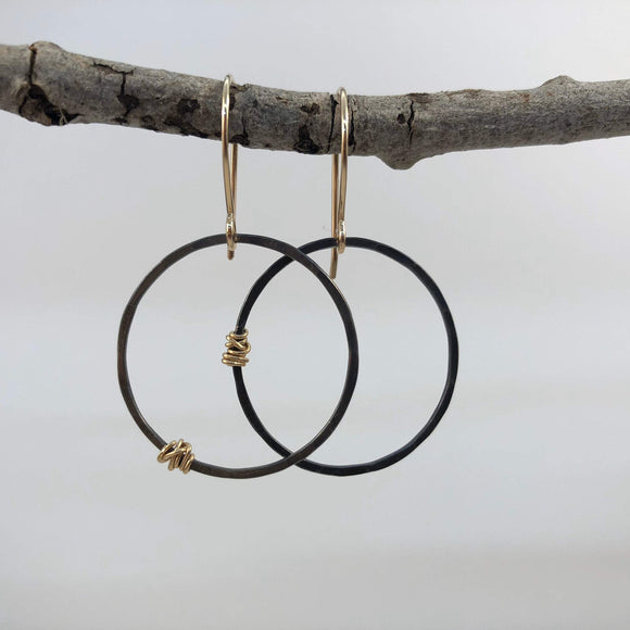 Oxidized Silver Hoops Earrings with Gold Wraps