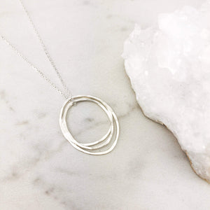 Sterling Silver Three Moon Necklace