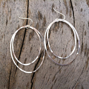 Large Sterling Silver Double Hoop Earrings