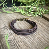 Multi Strand Leather Bracelet - Chocolate