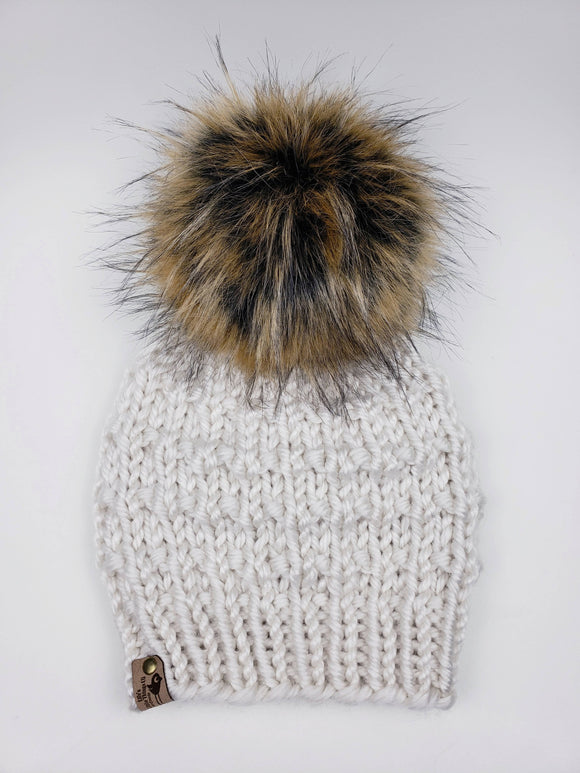 Sophie Beanie - Cream (Snap On Pom)