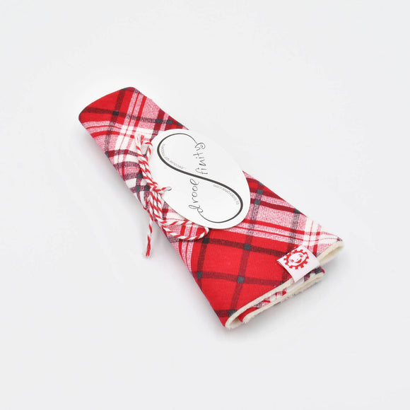 Droolfinity Red Plaid Infinity Drool Bib