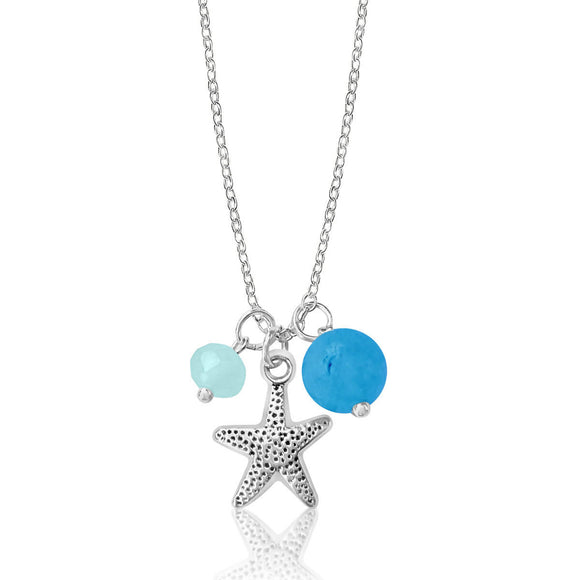 Jewelry Inspired by the Sea: Starfish Ocean Charm Necklace with Ocean Foam Crystals