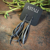 Mini Tassel Earrings - Charcoal/Silver