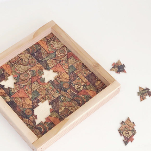 Cork Fabric Puzzle & Wood Serving Tray - Mosaic