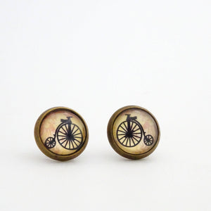 Steampunk Stud Earrings | Typewriter Pennyfarthing Bicycle Ear Studs