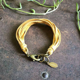 Multi Strand Leather Bracelet - Gold