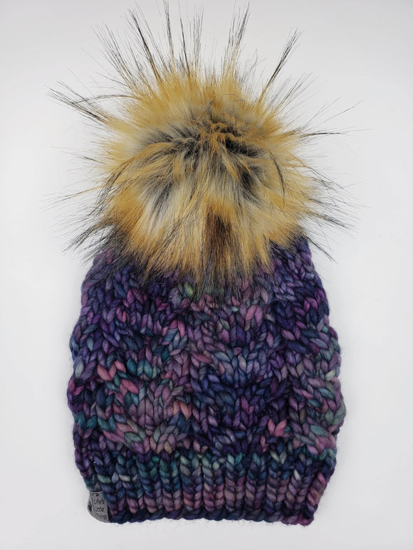 Horseshoe Cable Beanie - Boreal Merino Wool (Snap On Pom)