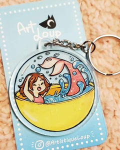 Yellow Gashapon Mermaid Acrylic Keychain