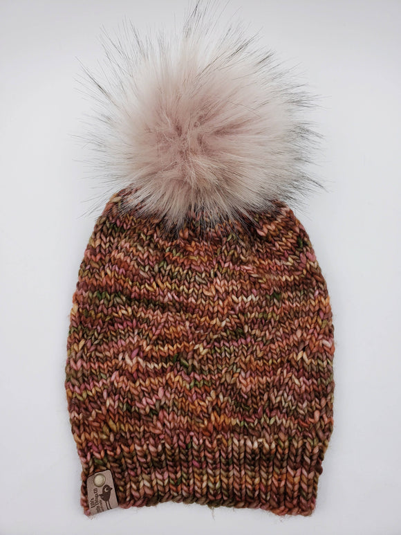 Ukiyo Beanie - Tobacos Merino Wool (Snap On Pom)