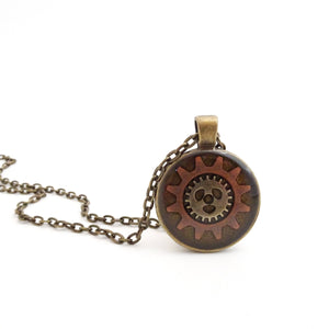 Steampunk Necklace | Gears Set in Resin