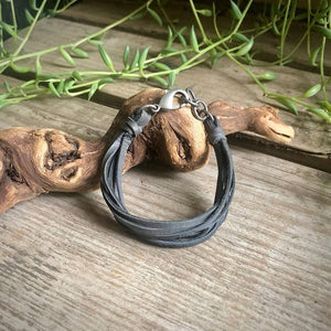 Multi Strand Leather Bracelet - Charcoal / Silver
