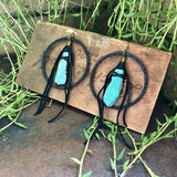 Leather Hoop Earrings - Turquoise & Black