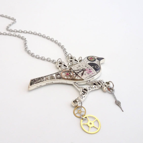 Steampunk Bird Collector Necklace | Real Watch Parts & Rubies Set in Resin