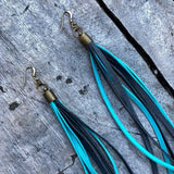 Leather Tassel Earrings - Turquoise & Charcoal