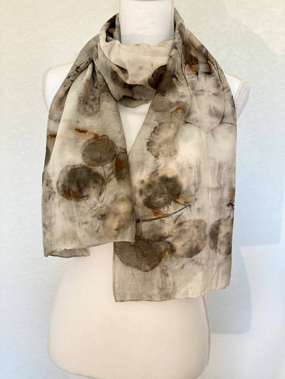 Eucalyptus Print Silk and Wool Scarf