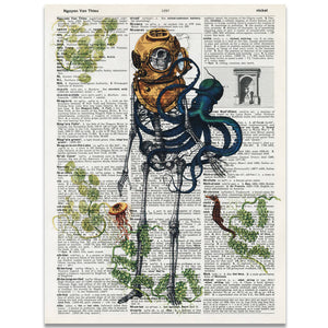 20,000 Leagues Under the Sea Dictionary Print
