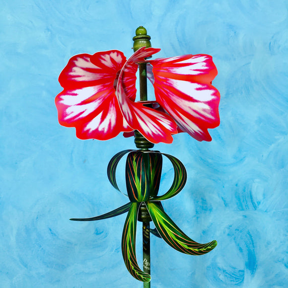 Red Geranium Pirouette Double Spin Pinwheel Wind Spinner Whirligig Windmill Fan