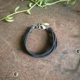 Multi Strand Leather Bracelet - Black / Silver
