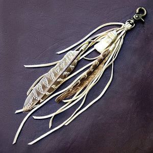 Feather & Leather Bag Clip - Cream