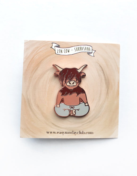 Meditating Zen Cow Enamel Pin