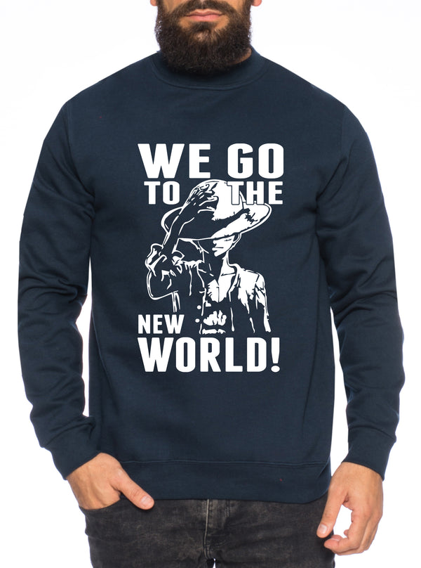 New World Stroh Hut One Manga Herren Sweatshirt Ruffy Anime Piece
