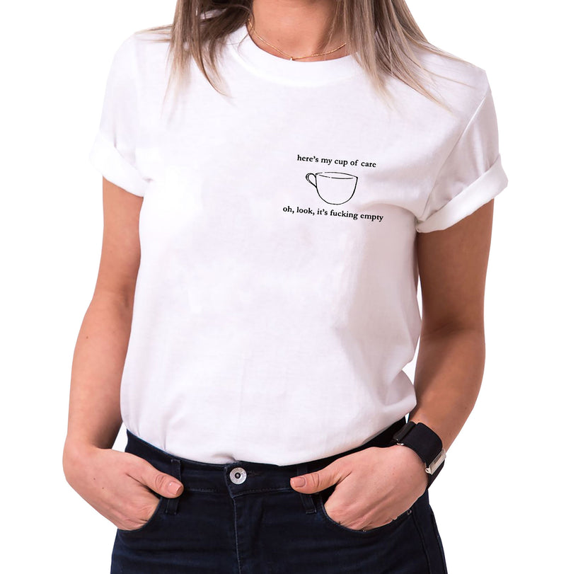 Cup of care - Statement Shirts - Damen T-Shirt Rundhals - Sprüche Shirts