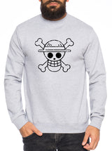 Logo Bruch Stroh Hut One Manga Herren Sweatshirt Ruffy Anime Piece