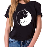 Cat Yin Yang - Statement Shirts - Damen T-Shirt Rundhals - Sprüche Shirts